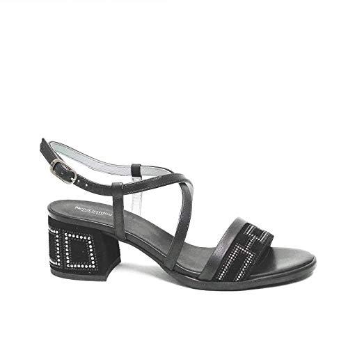 Nero Giardini vrouw sandaal met medium zwarte hakken E012262D artikel 100 nieuwe collectie lente zomer 2020