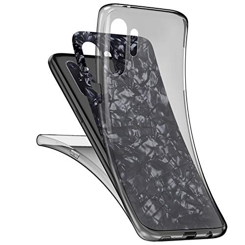 JAWSEU für Samsung Galaxy Note 10 Plus Hülle 360 Grad Handyhülle, Muschel Muster Ultradünn Silikon Crystal Soft TPU Case Full Schutz Cover Vorne und Hinten Schutzhülle für Galaxy Note 10 Plus,Schwarz