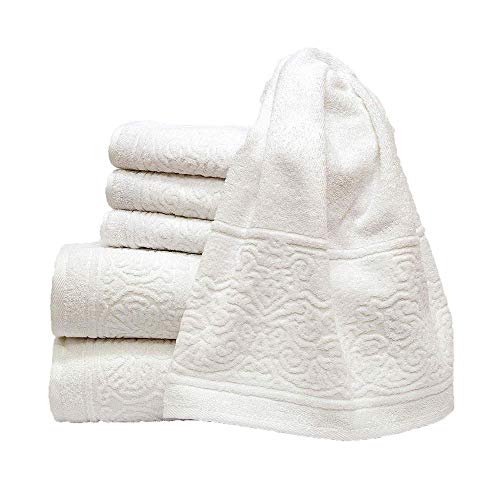 my cocooning Juego de toallas retro de 6 piezas, blancas, suaves y absorbentes, 100% algodón, 2 toallas de ducha grandes (70 x 140 cm) y 4 toallas pequeñas (50 x 90 cm), lavables a máquina
