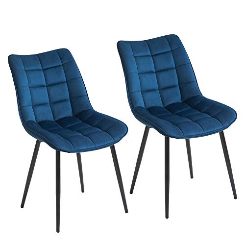 homcom Set 2 Sedie Moderne Imbottite da Salotto e Soggiorno, Stile Nordico Rivestimento in Velluto, Blu, 46x58.5x85.5cm