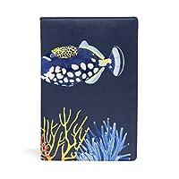 ブックカバー 文庫 a5 本 カバー 革 レザー 水彩画 魚 熱帯魚 サンゴ おしゃれ かわいい 文庫本カバー ファイル 資料 収納入れ オフィス用品 読書 雑貨 プレゼント