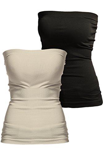 TheMogan Women's Basic Layering Seamless Bra Top Bandeau - Khaki - Black