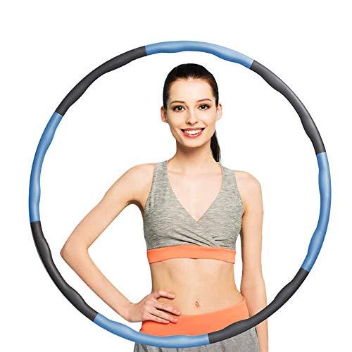 KOVEBBLE Fitnesskreis Reifen Hoop, Gewichteter Hoop Einstellbare Größe für Reifen Erwachsene Kinder, Hula Fitness reifen gepolstert 8 Wellenabschnitte Spleißen Abnehmbar für abnehmen Übung GYM Workout
