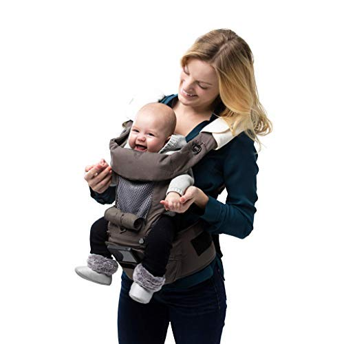 Abiie HUGGS Baby Carrier Hip Seat - Approved by U.S. Safety Standards - Healthy Sitting Position (M-Position) - Front Facing, Hip Hugger, Back Baby Carrier - 100% Cotton (Grey)