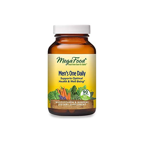 MegaFood Men's One Daily - Men's Multivitamin for Optimal Health and Well-Being - With B Complex Vitamins - Gluten Free, Non-GMO, Dairy Free, Soy Free - 90 Tablets