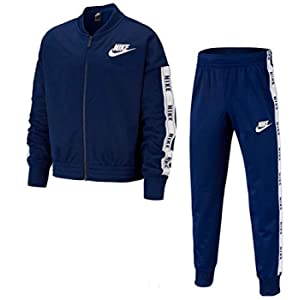 Nike G NSW TRK Suit Tricot, Tuta Bambina, Blue Void/White/Blue Void/White, XS