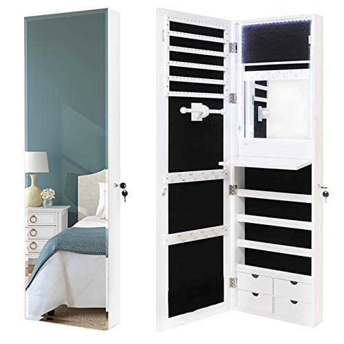 USIKEY 80 LED Lights Jewelry Cabinet WallDoor Mounted Lockable Jewelry Organizer with Full-Length Mirror Jewelry Armoire Cabinet with 4 Drawers Built in Makeup Mirror White