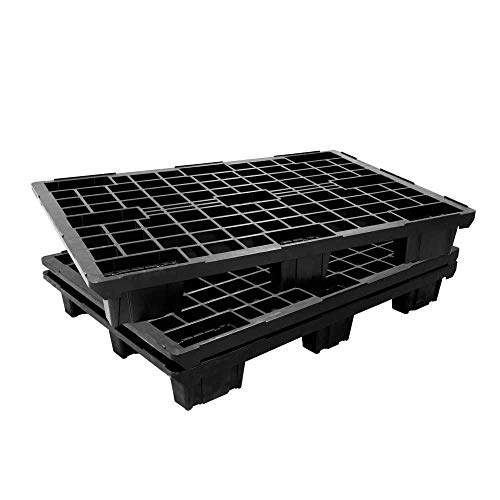 Euro-Leichtpalette/Kunststoffpalette im Euromaß, schwarz, LxBxH 1200 x 800 x 153 mm, Deckfläche durchbrochen