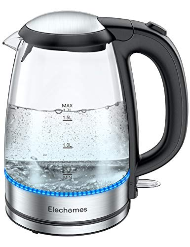 Elechomes 17L Electric Kettle Cordless Portable Glass Tea KettleBPA Free Water Heater for Coffee Tea HotCocoa Auto ShutOff and Boil Dry Protection Stainless Steel Bottom