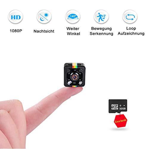 Mini Kamera mit 32GB Micro Karte, FLYLINKTECH 1080P Kleine Tragbare Mikro Überwachungskamera, Mini Cam mit Infrarot Nachtsicht und Bewegungserkennung, Compact Sicherheit Kamera für Innen und Aussen