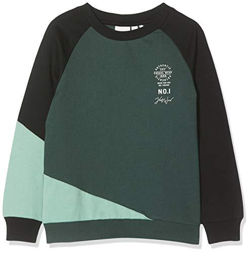 NAME IT Jungen NKMNEPPE LS Sweat BRU Sweatshirt, Mehrfarbig (Black Black), 122/128 (Herstellergröße: 122-128)