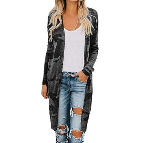 ROVNKD Chaqueta de punto para mujer, de otoño, larga, de camuflaje, ropa exterior Negro XL