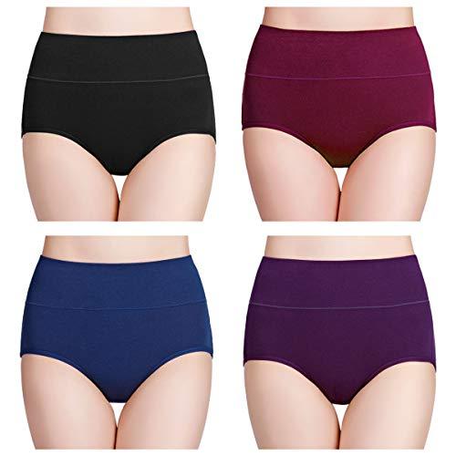 wirarpa Damen Unterhosen Baumwolle Slips Damen Hoher Taille Atmungsaktive Taillenslip Wochenbett Unterwäsche Mehrpack Größen 32-58, Mehrfarbig03-4er Pack, X-Large (46/48)
