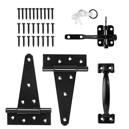 HILLMASTER Heavy Duty Gate Latch Door Handle Hardware Kit for Wooden Fence, Self-Closing Gate Latch with Pull String, Decorative Metal Gate Pull Handle, 2 Pack 6in T-Strap Gate Hinges, Black Finish