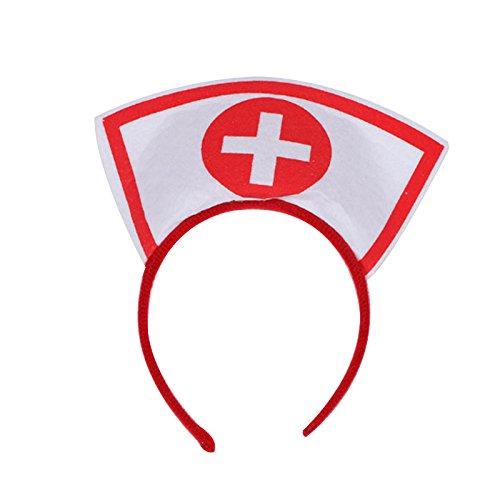 Fenghong Halloween Krankenschwester Kopfbedeckung, Halloween Kostüm Krankenschwester Hut Stirnband Kopfbedeckung Cosplay Hairband Cap