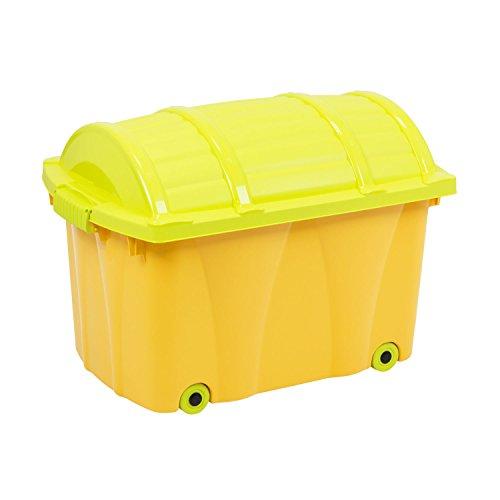 Pirat-Box von OKT 42 L rollbare Spielzeugtruhe Spielzeug - Box Kiste Rollen Rollbox Aufbewahrungsbox Kinderzimmer orange/hellgrün