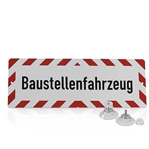 """Betriebsausstattung24® Hinweisschild """"Baustellenfahrzeug""""   Hart-PVC mit 2 Saugnäpfen Größe (BxH): 29,7 x 10,5 cm   Auto Schild   Autoschild   Hinweisschild Kraftfahrzeuge   KFZ"""