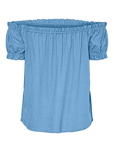 VERO MODA Damen VMHELENMILO Off Shoulder TOP WVN Bluse, Black, XS