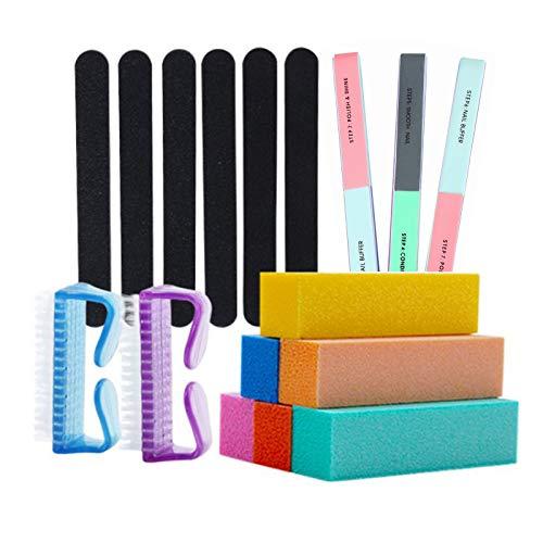 Nail Files and Buffers Pinkiou Professional Manicure Tools Nail Care Products Shine Block Kit with Nail Buffer,Nail Brush,Nail File