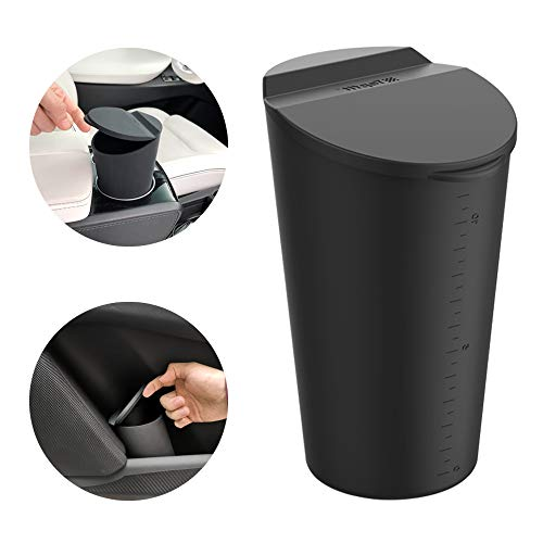 BMZX Car Trash Can with Lid Small Car Cup Holder Trash Bin Car Door Pocket Garbage Can Bin Trash Container Fits Auto Home Office, Black