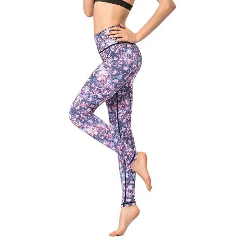 QTJY Pantalones de Yoga Florales Coloridos, Leggings de Cintura Alta para Mujer, Pantalones para Correr de Secado rápido, Estiramiento al Aire Libre, F L