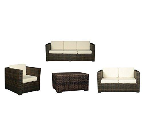 Konway & Nösinger Rattan Sitzgruppe Florida Garten Lounge Sofa + Sessel + Tisch Gartenmöbel braun