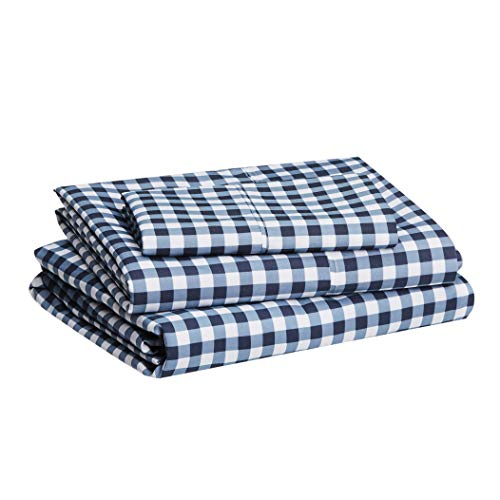 Amazon Basics Lightweight Super Soft Easy Care Microfiber Bed Sheet Set with 14' Deep Pockets - Twin, Gingham Plaid