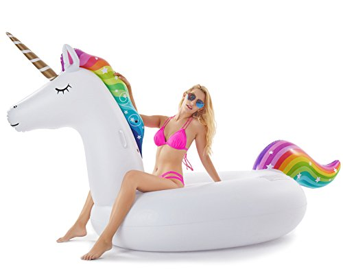 Jasonwell Giant Inflatable Unicorn Pool Float Floatie Ride On with Fast Valves Large Rideable Blow Up Summer Beach...