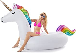 Jasonwell Giant Inflatable Unicorn Pool Float Floatie Ride On with Fast Valves Large Rideable Blow Up Summer Beach Swimming Pool Party Lounge Raft Decorations Toys Kids Adults