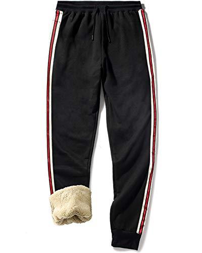 MACHLAB Men's Winter Fleece Pants Sherpa Lined Sweatpants Active Running Jogger Casual Sweat Pants Black#46 M