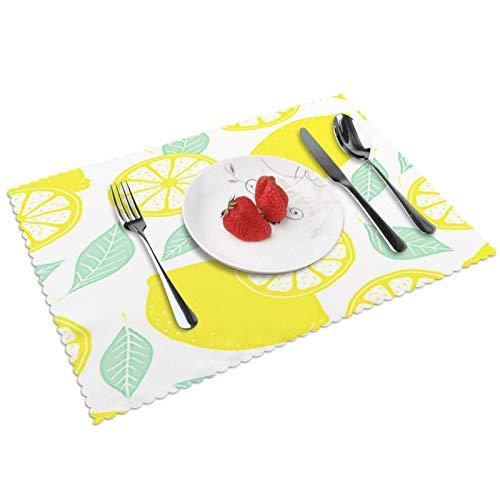 Manteles Individuales Iconos de Limones Frescos Doodle, Mantel Individual Antideslizante Resistente Al Calor Salvamanteles Juego De 4 para La Mesa De Comedor De Cocina, 45x30 Cm