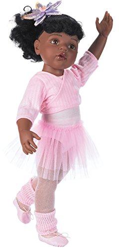 Götz 1159850 Hannah beim Ballett Afro Puppe - 50 cm große Ballerina Stehpuppe, Schwarze Haare, braune Augen