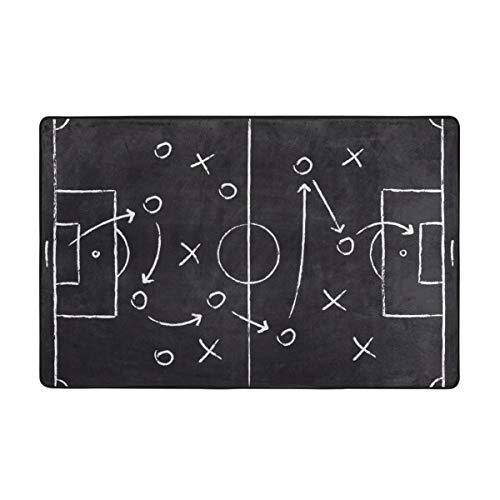 kThrones Badematte Teppich,Fußballspiel Taktisches Schema mit Fußballspielern und Strategiepfeilen Badezimmerteppich 75cm X 45cm