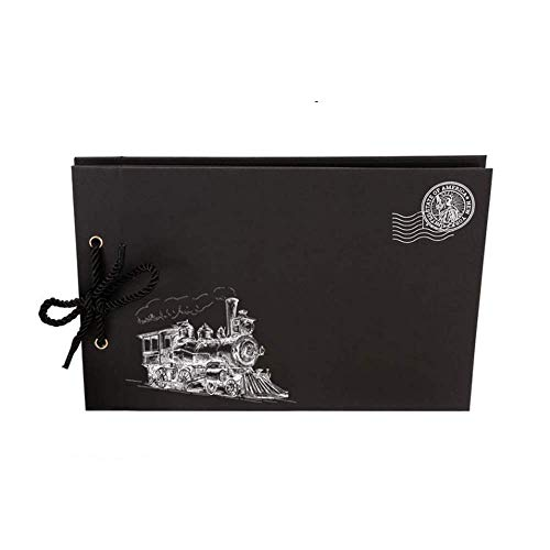 XXY-shop Recuerdos Regalo Black Train Photo Album Vintage Tethered Family Self Book Libro de chatarra Recargable Álbum de Bricolaje Hecho a Mano Papel Artesanal con 40 Hojas