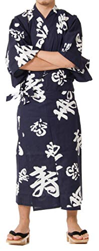 Tokyoin Traditional Made in Japan Cotton Yukata Robe (Japanese Pajama Kimono) Easy Wearing Unisex Design OBI Yukata set2 Navy & Happy Mean Kanji 64 XX-Large