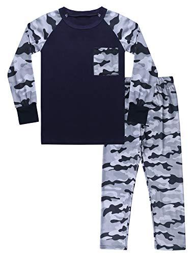 Hawiton Jungen Schlafanzug Tarnung Langarm Baumwolle Kinder Pajama Jungen Herbst Winter Nachtwäsche Schlafanzüge für Jungen