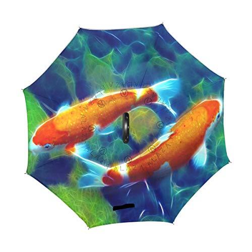 XiangHeFu double layer Inverted Reverse ombrelloni coppia Koi Fish pieghevole antivento protezione UV Big dritto per auto con manico a C