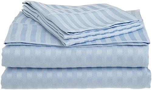 "RV-King Size Sheet Set - 4 Piece Set - 100% Egyptian Cotton, 400 Thread Count Long-Staple, Best-Bedding Sheets, Fitted Sheet fits Upto 15"" deep Pocket Mattress - Easy Fit - Light Blue Stripe"