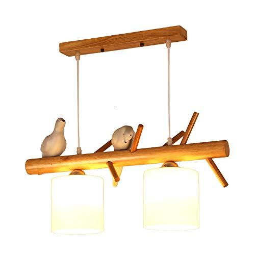 AI LI WEI mooie lampen/Nordic moderne, minimalistische driedelige kop, houten kroonluchter, creatief, geschikt voor woonkamer/slaapkamer/eettafel, vogel, kroonluchter, afmetingen: 60/79 x 35 cm