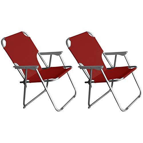 2 Stück Wohaga® Campingstuhl mit Armlehnen, klappbar, Rot, Klappstuhl Faltstuhl Gartenstuhl Strandstuhl Anglerstuhl