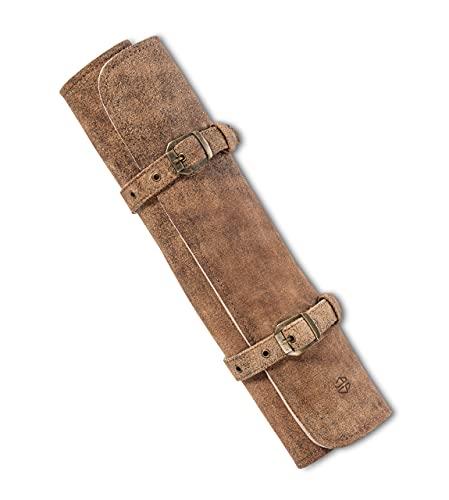 Angus Stoke Messertasche Leder für Köche - Echt-Leder Kochmesserrolle groß – Messer Tasche Kochmesser verschliessbar -Kochtasche Sam (Braun-Antik)