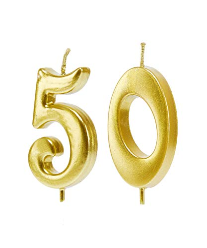 Mart 50th Birthday Candles,Gold Number 50 Cake Topper for Birthday Decorations