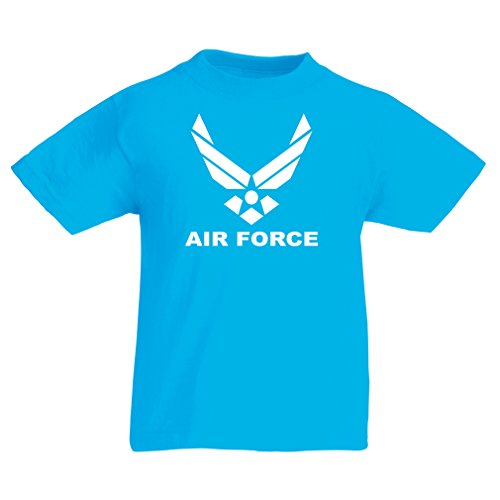 lepni.me Camiseta para Niño/Niña United States Air Force (USAF) - U. S. Army, USA Armed Forces (14-15 Years Azul Claro Blanco)