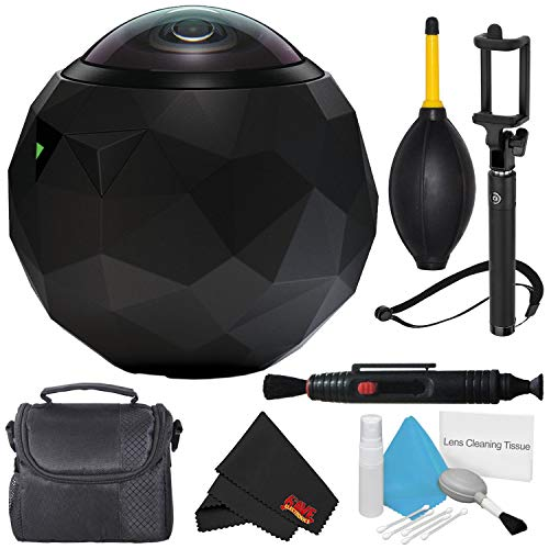 360fly 360 HD Video Camera (First Generation) 360FLYBLK + Deluxe Selfie Stick + Microfiber Cloth + Lens Pen Cleaner + Deluxe Cleaning Kit + Small Soft Carrying Case + Dust Blower Bundle