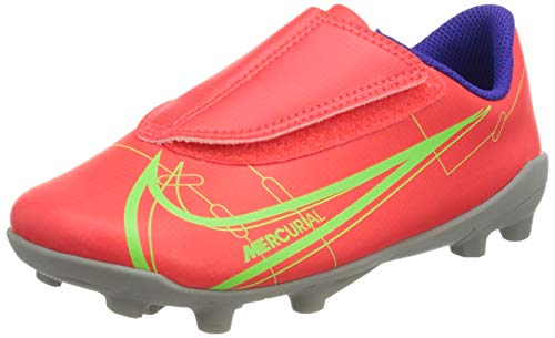 Nike Jr Vapor 14 Club MG PS (V) Football Shoe, Bright Crimson/Metallic Silver-Indigo Burst-White-Rage Green, 26 EU