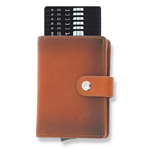 Solo Pelle Geldbörse für 15 Karten + Geldscheine + Kleingeld geeignet | Kreditkartenetui Kartenetui mit RFID aus echtem Leder Q-Wallet (Cognac Braun Burned + Kleingeldfach) gebrauchtes Aussehen