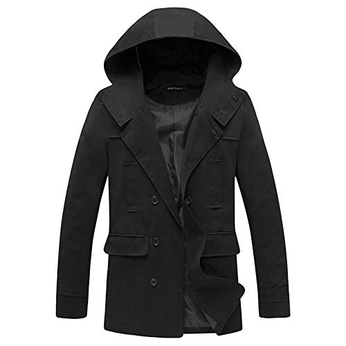 GZL Mens Long Double Breasted Trench Coat Gentlemen Formal Wear Jacket Overcoat Outfits Pea Coats,Black,M