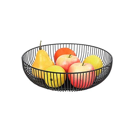 LIZANAN Cesta Cesta de Frutas, Drenaje Cesta, 28 * 7,5 cm, Adecuado for el hogar/Cocina/Cuarto de Estar (Color: Negro, tamaño: 28 * 7,5 cm) frutero