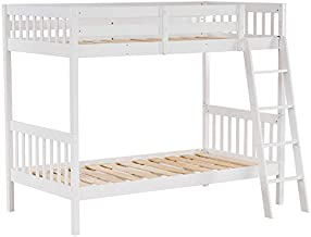 JOYMOR Wood Twin Over Twin Bunk Bed Frame with Ladder and Safety Rail for Kids Children Teens, Mattress not Included
