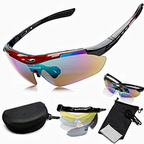 N-B Gafas De Ciclismo De Exterior, Gafas De Sol De Bicicleta Deportiva con 5 Lentes Intercambiables. Adecuado para Correr, Golf, Pesca, Senderismo Y Béisbol.